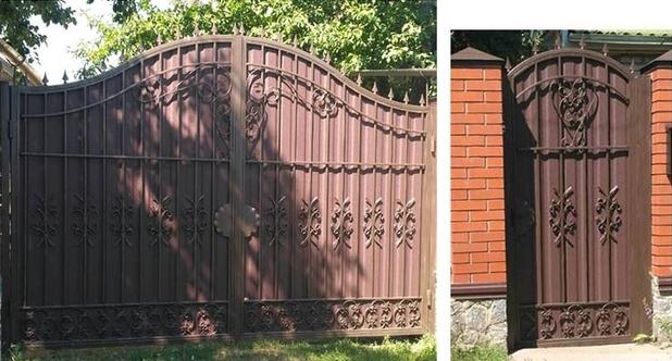 готовые кованые ворота с профлистом